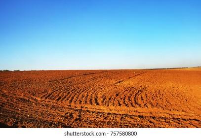 Plowed fields in the Alentejo plain of Portugal