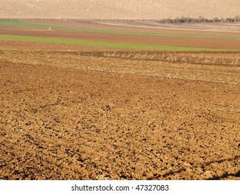 Plowed fields at farm