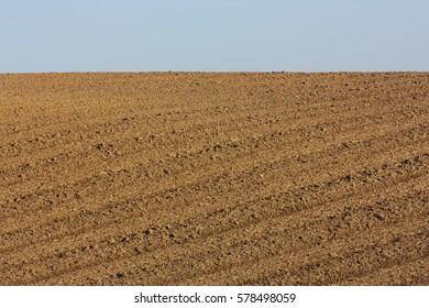 Plowed soil in Aisne, Picardie region of France