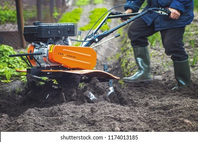plowing the land in the garden with a cultivator. agricultural work on plowing the field for sowing seeds. a man plows the land with the help of motor cultivator.