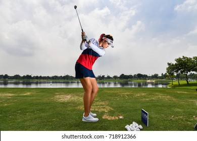 Ploychompoo Wilairungreung of Thailand warming up before match the PTT Thailand LPGA Masters 2017 at Panya Indra Golf Club. on September 11, 2017 in Bangkok, Thailand.