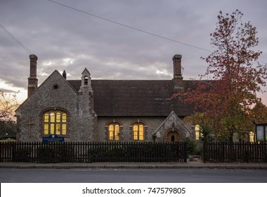 Pluckley, Kent, UK, 2nd November 2017: Pluckley Church Of England Primary School as the sun goes down