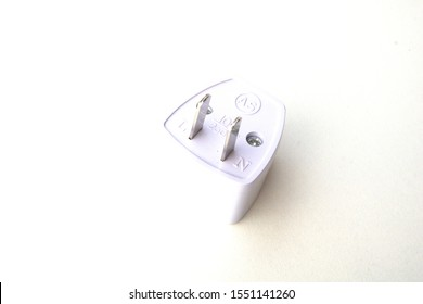 Plug adapter on white or gray background