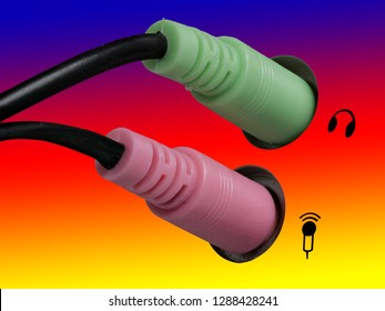 Plug for headphones, headsets and microphone on a computer, blue, red and yellow background, right side