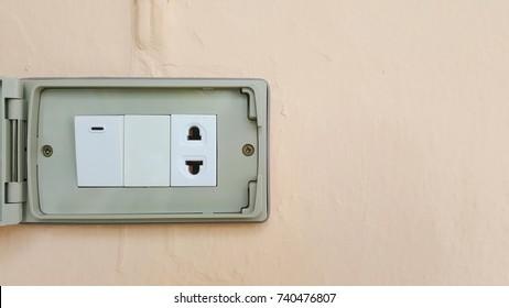 plug socket on wall background