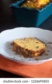 Plum cake with pumpkin, bacon and amaretti