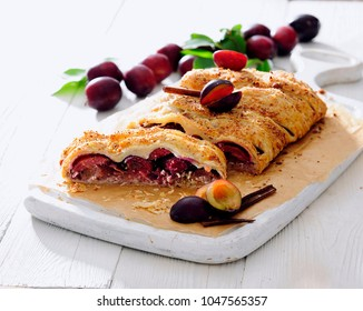 Plum and cheese strudel.