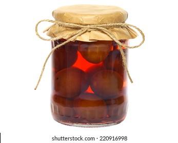 Plum compote in a glass jar