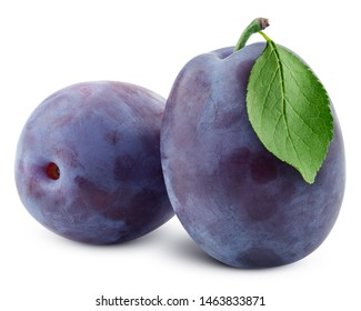 plum isolated on white background, clipping path, full depth of field