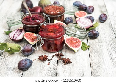 Plum marmalade, fig jam, red onion confiture. Food background. Preserving ingredients
