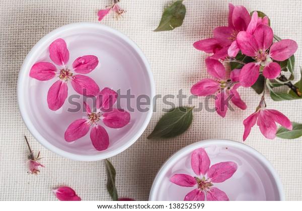 Plum tree flower floating in white bowl