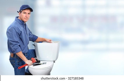 Plumber repairing toilet. Plumbing and renovation banner.
