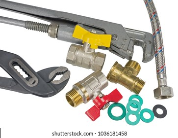 plumber tools and accessories on white background