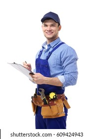 Plumber in uniform holding clipboard on white background