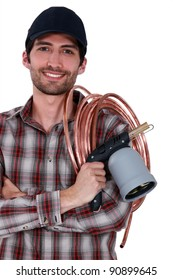 A plumber with welding gears.