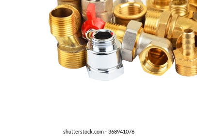 Plumbing fitting and ball valve, isolated on white background