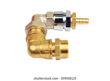 Plumbing fitting and tubulure, isolated on white background