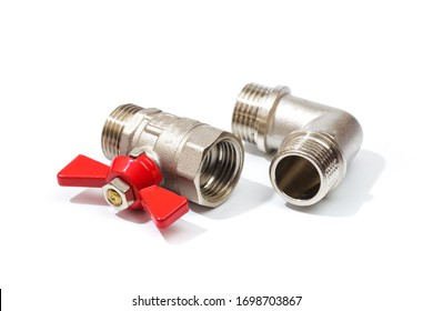 Plumbing inlet pipe valve, isolated on white background