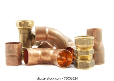 Plumbing materials isolated on a white background