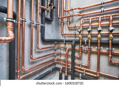 Plumbing service. copper pipeline of a heating system in boiler room