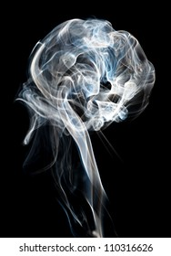 A plume of cigarette smoke against a black background.