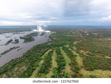Plume of the famous Victoria Falls in Zimbabwe
