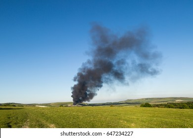Plume of smoke seen across the South Downs from the Lewes recycling centre fire