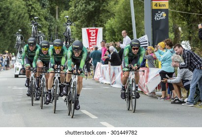 PLUMELEC,FANCE - JUL 12:Team Europcar riding the Team Time Trial stage between Plumelec and Vannes, during Tour de France on 12 July, 2015.