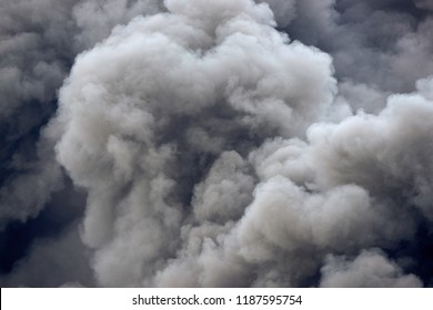 Plumes of toxic pollution clouds from an industrial fire accident.