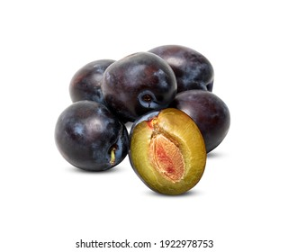 plums group red purple  isolated on white background with clipping path
