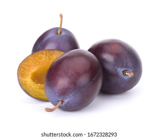 Plums isolated on White Background, closeup
