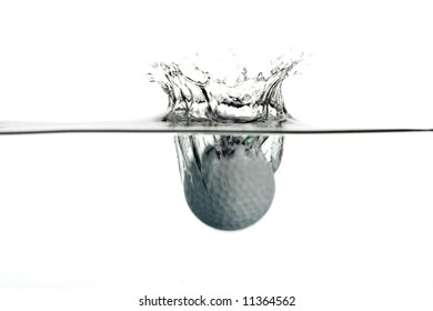 plunge in the water of a golf ball