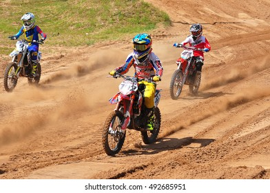 PLUNGE,LITHUANIA-JUNE 12:Unidentified motorcyclists in action in Lithuanian Open Motocross Championship 2016 first roundon June 12,2016 in Plunge, Lithuania.