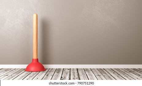 Plunger on Wooden Floor Against Grey Wall with Copyspace 3D Illustration