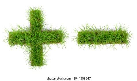 Plus Minus Grass Icon isolated on white Background