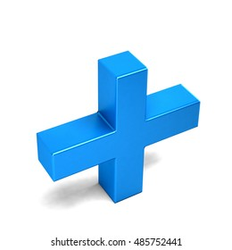 Plus sign in color blue. 3D Rendering Illustration