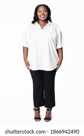 Plus size apparel white shirt studio shot