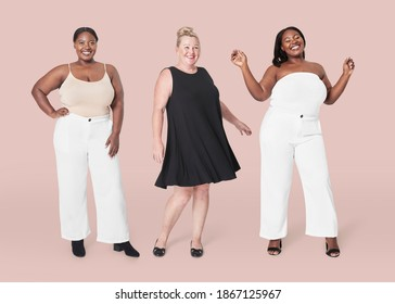 Plus size model clothing apparel mockup