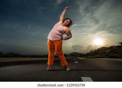 Plus size woman running, Healthy lifestyle