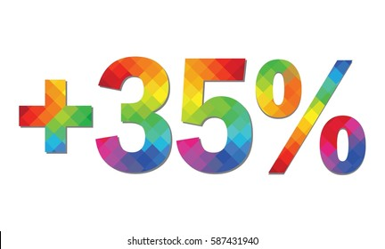 Plus Thirty-Five Percent Text in Rainbow Mosaic Pattern Fill