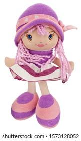 Plush girl toy, isolated on white background.
