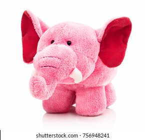 Plush pink elephant toy for little kids isolated on the white background with shadow reflection. Front view of soft pink animal toy for small kids for playing. Stuffed pink elephant
