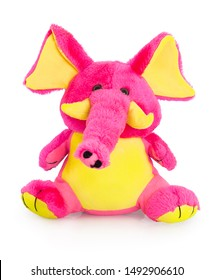 Plush pink and yellow elephant toy for little kids isolated on the white background with shadow reflection. Front view of soft pink animal toy for small kids for playing. Stuffed pink elephant