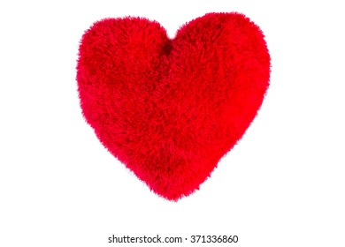Plush red heart over a red fabric heart on isolated