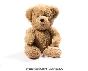 Plush teddy bear on white background