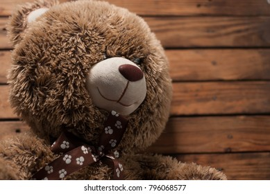 Plush toy on the wooden floor, soft toys shaggy bear
