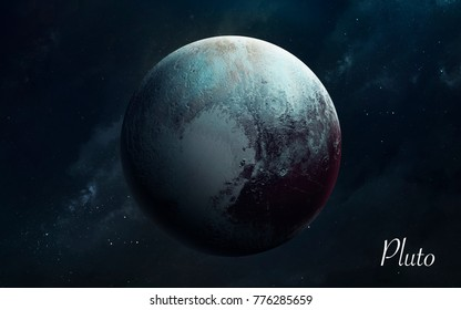 Pluto. Awesome quality planets of solar system. Perfect science image in 5K. Elements of this image furnished by NASA