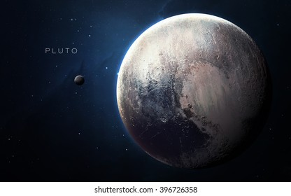 Pluto - High resolution 3D images presents planets of the solar system. This image elements furnished by NASA.