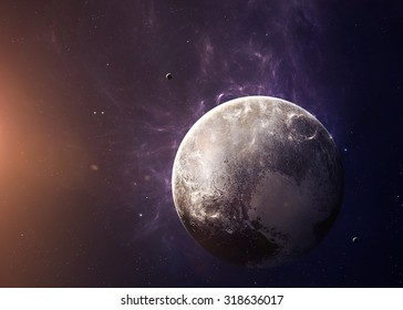 The Pluto with moons shot from space showing all they beauty. Extremely detailed image, including elements furnished by NASA. Other orientations and planets available.