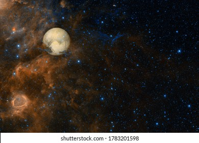 Pluto. Solar system. Cosmos art. Elements of this image furnished by NASA.